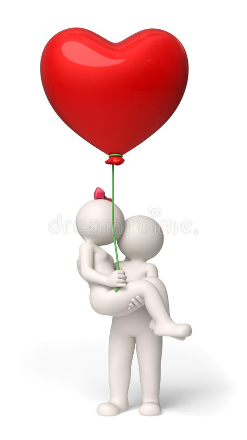 Download 3d Couple In Love On Valentines Day - Red Heart Ba Stock ...
