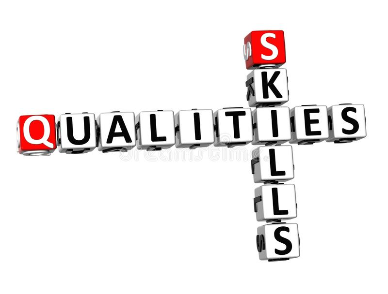 3D Crossword Qualities Skills On White Background Stock