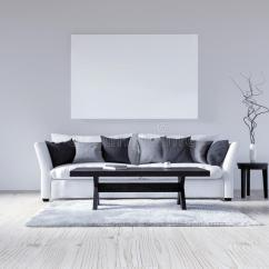 Grey Sofa Living Room Carpet Flooring Designs For India 3d Illustration Empty White Interior With Sofa, Wall ...