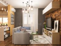 3d Illustration Living Room Interior Design. Modern Studio ...