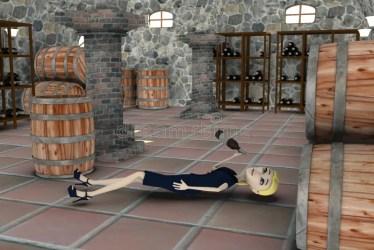 cellar cartoon render drunk 3d character businesswoman