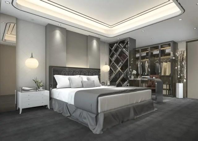 3d Rendering Luxury Modern Bedroom Suite In Hotel With ...