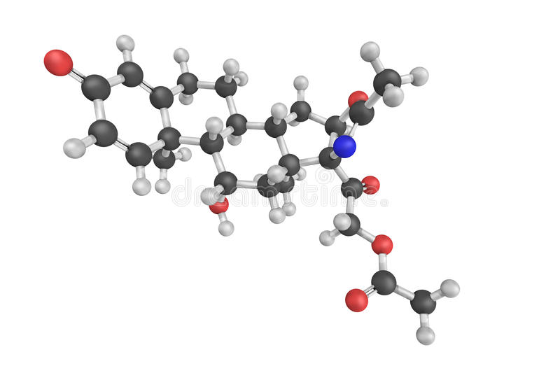 Prednisone Molecule Isolated On White Stock Illustration