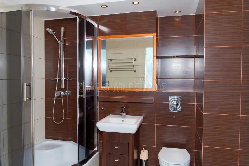 Dark Brown Bathroom Interior Royalty Free Stock Images