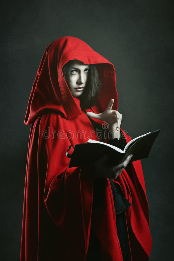 Ninja Fantasy Girl Wallpaper Dark Red Hooded Witch Reading A Book Stock Image Image
