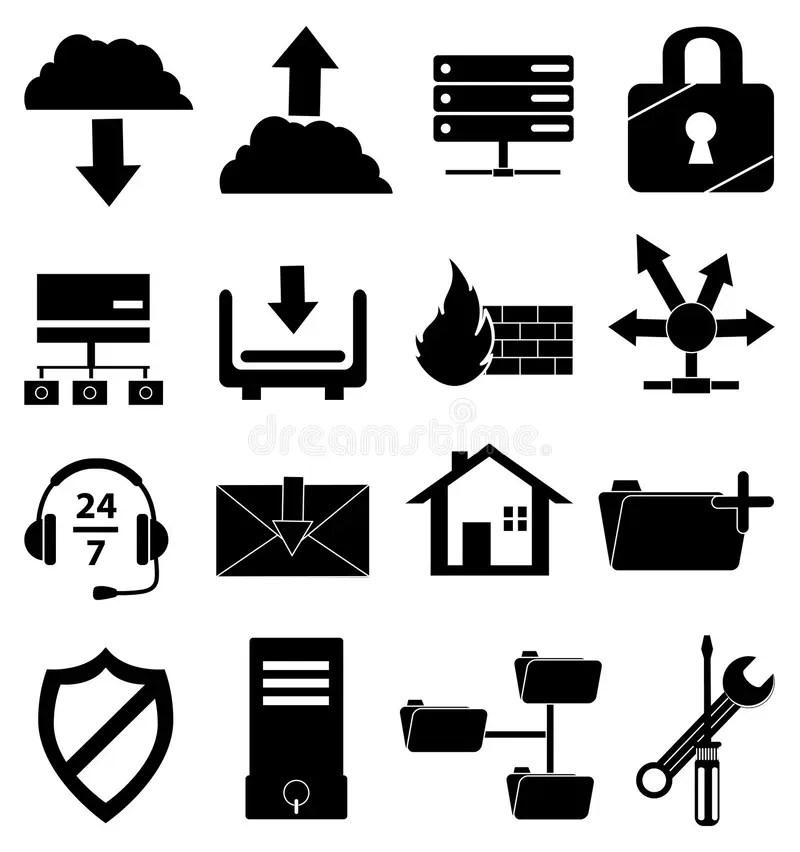 Database icons set stock illustration. Illustration of