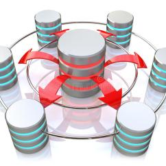Raid 5 Concept With Diagram Er For Chat Application Database Symbol Connected To Metal Hard Disk Icons (3d Render) Stock Illustration - Image: 67038504