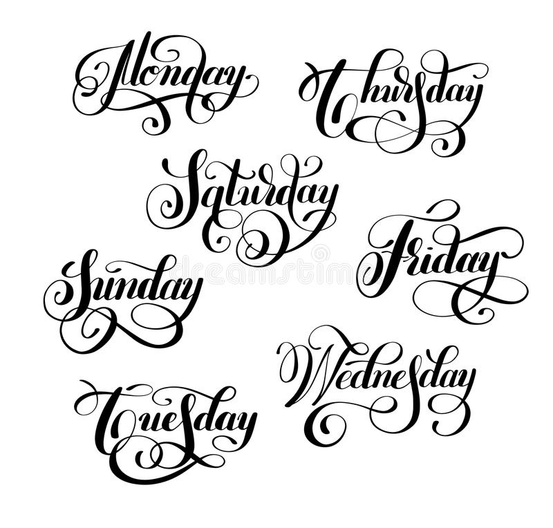 Days Of The Week Stitch Text Labels Stock Illustration