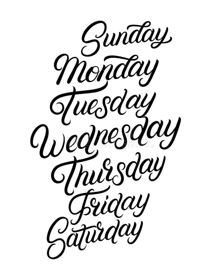 Handwritten Days Of The Week Monday, Tuesday, Wednesday