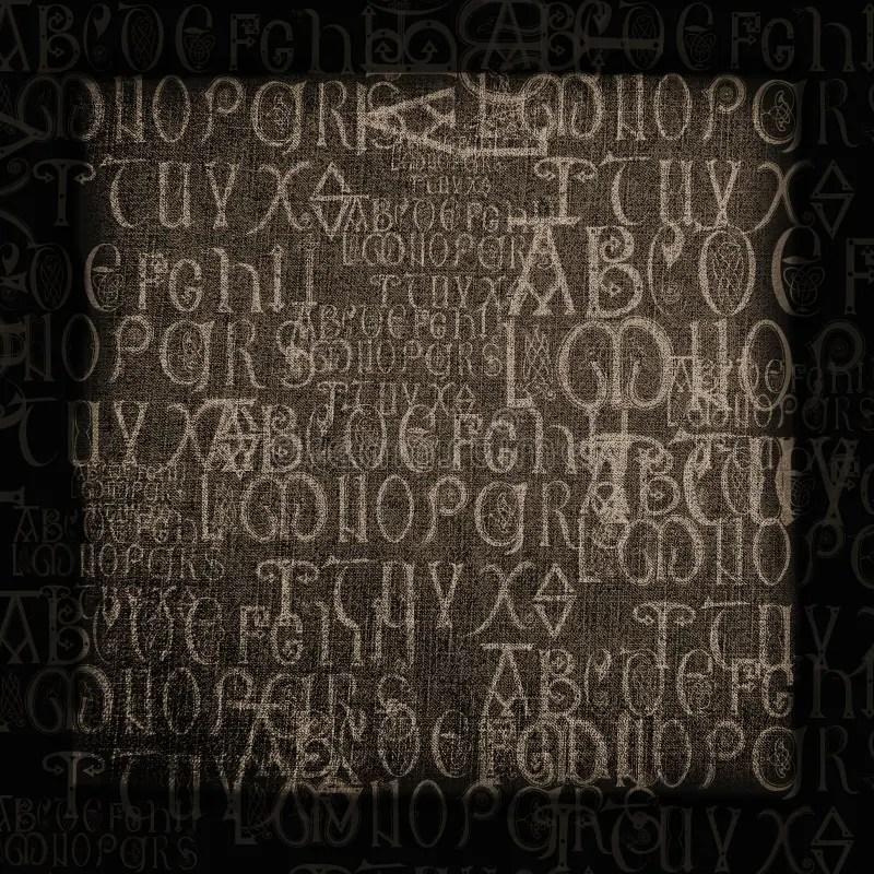 De Antieke Achtergrond Van Het Alfabet Stock Foto
