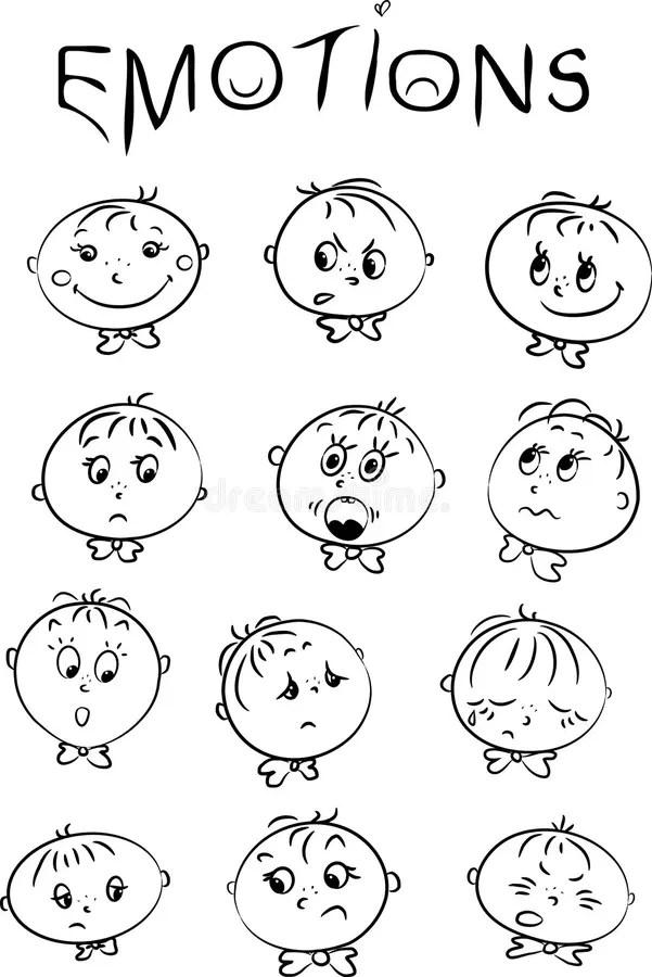 De emoties van kinderen stock illustratie. Illustratie