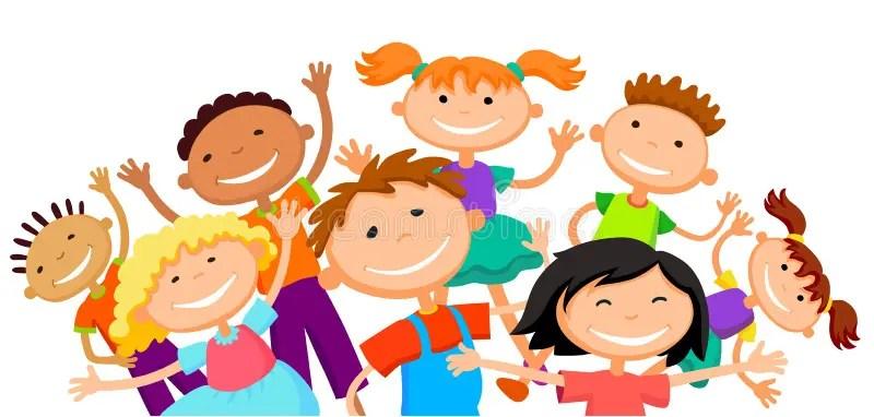 Cute Toddlers Playing Cartoon Wallpaper De Groep Kinderenjonge Geitjes Springt Blij Wit