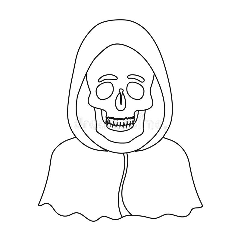 Death Icon In Cartoon,black Style Isolated On White
