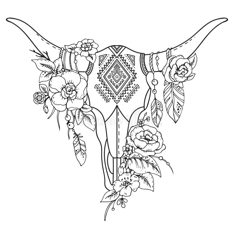 Decorative Indian Bull Skull With Ethnic Ornament Flowers
