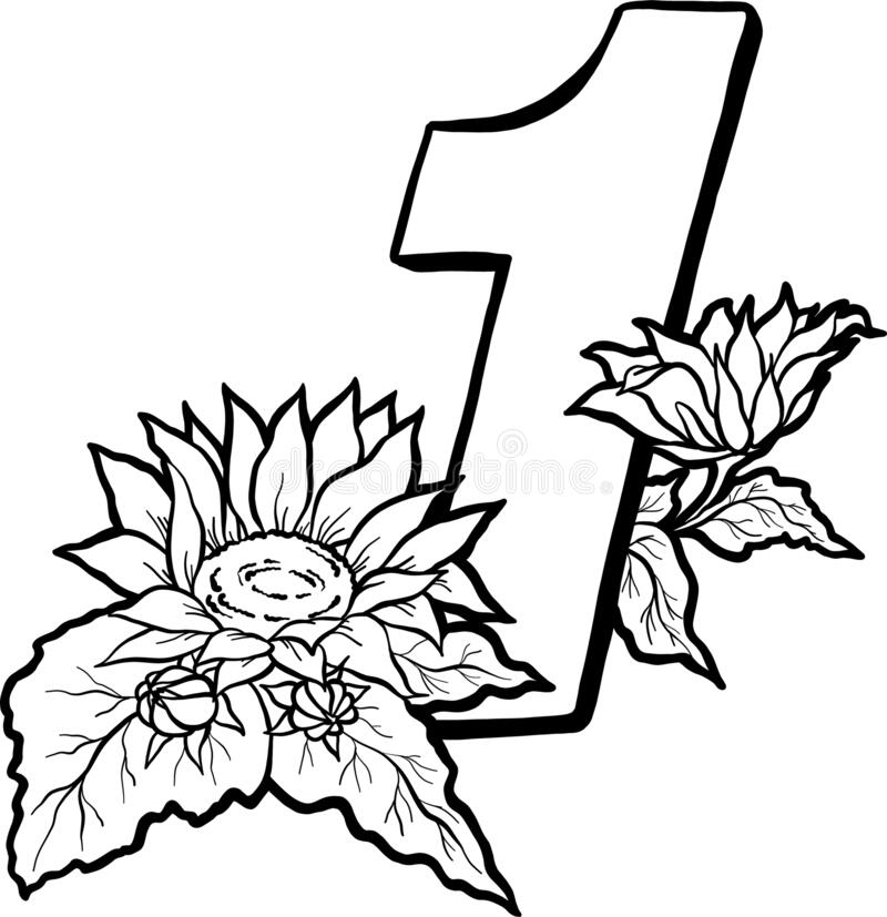 Sunflower Coloring Stock Illustrations