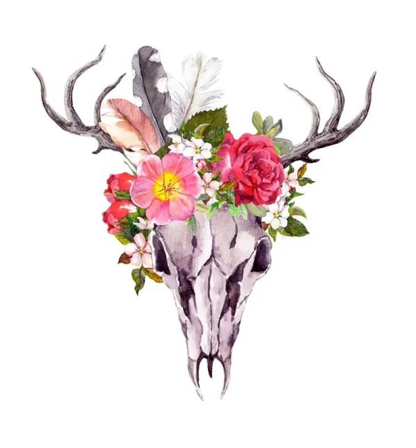 Deer Skull with Flowers Watercolor