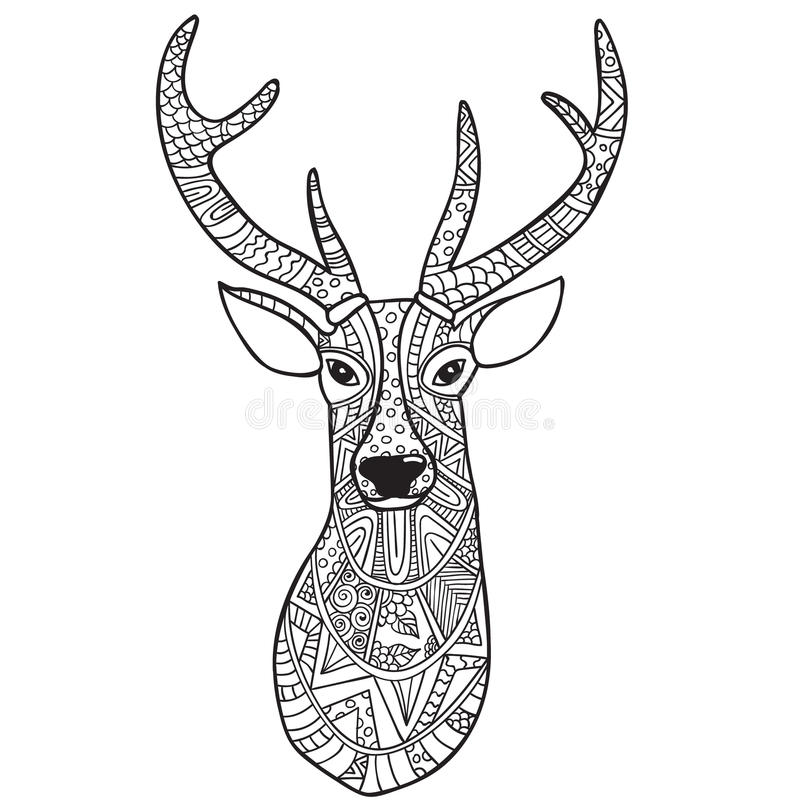 Deer. Hand-drawn Reindeer With Ethnic Doodle Pattern