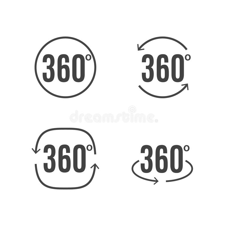 Angle Degrees Icons Vector Design. Arrows Rotation Circle
