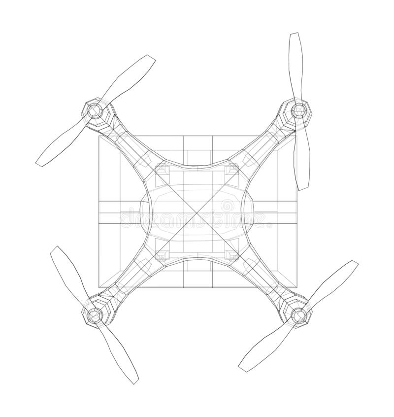 Drone Concept Consisting Of Luminous Lines Stock