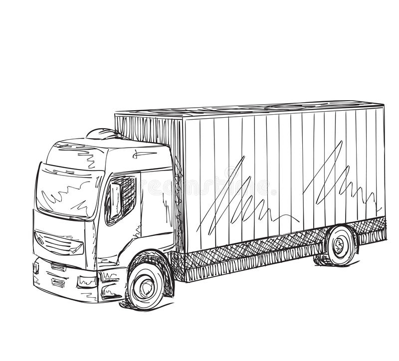 Delivery Service. Hand Drawn Truck. Logistics. Stock