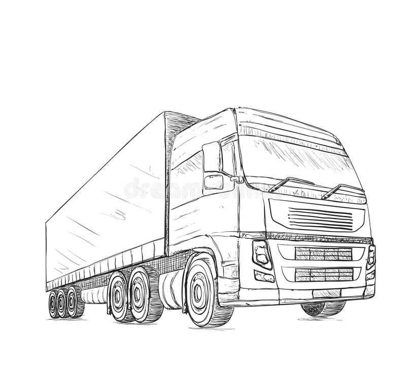 Delivery Service. Hand Drawn Truck. Stock Vector