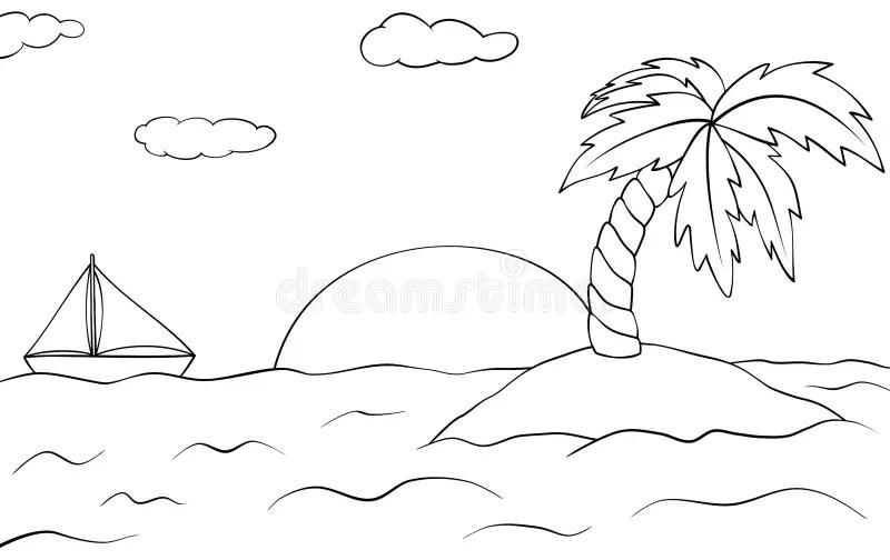 Desert Island Cartoon Illustration Stock Vector