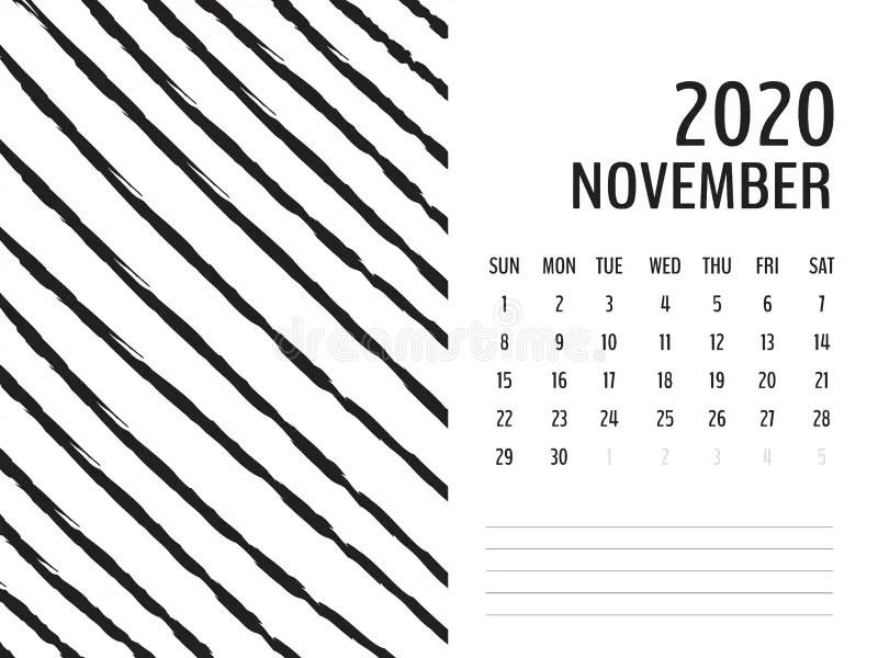 November 2020 Doodle Wall Calendar Stock Vector