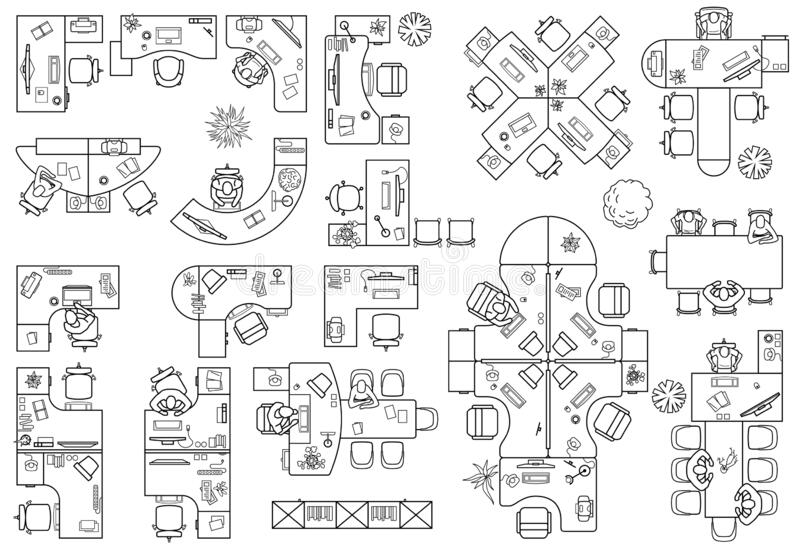 Floor Furniture Icons Plan Stock Illustrations