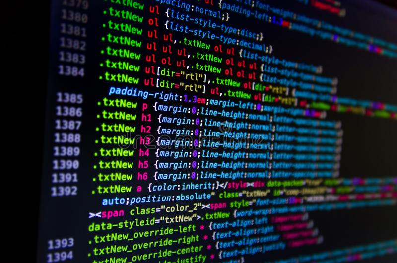 Desktop Source Code And Wallpaper By Computer Language With Coding And Programming. Stock Photo - Image of binary, malware: 124424262