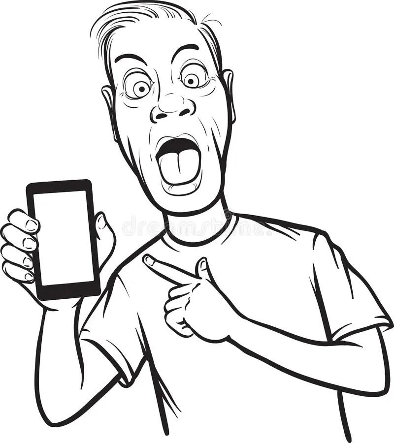 Dessin Au Trait D'homme Fol Montrant Un APP Mobile à Un