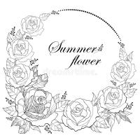 Dessin De Vecteur De Guirlande Ronde Avec La Fleur Rose D ...