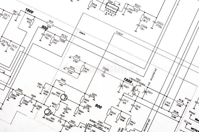 Detailed technical drawing stock photo. Image of diagrams