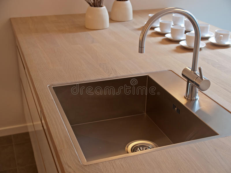 Details Of Modern Kitchen Sink With Tap Faucet Stock Image