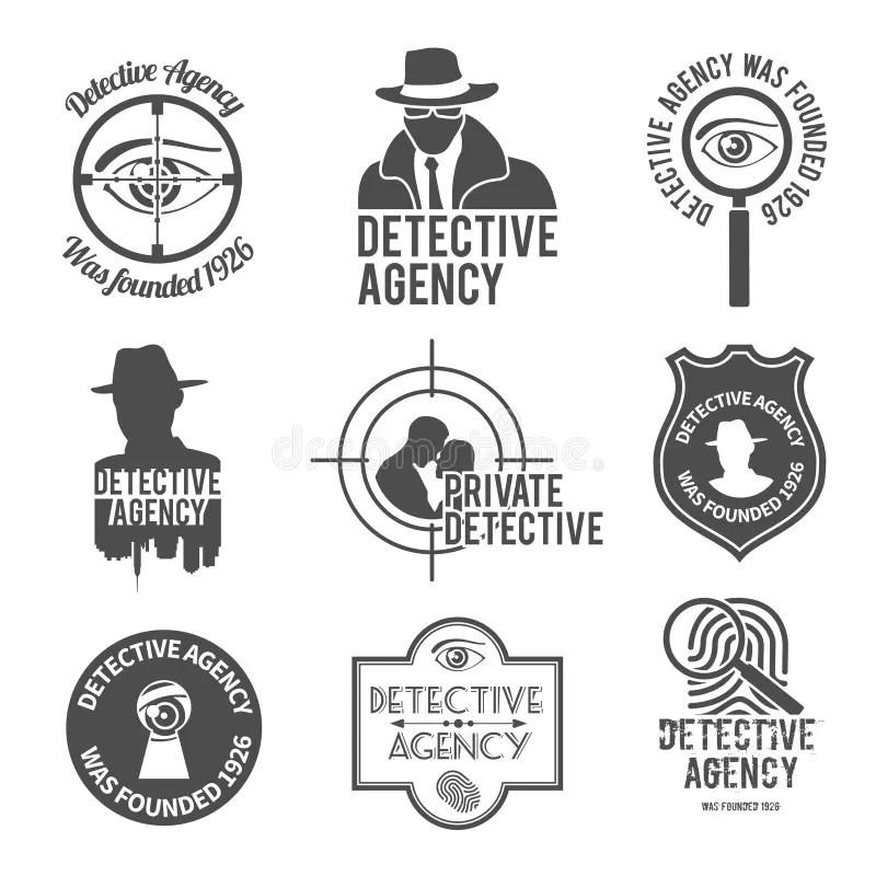 Detective label set stock vector. Image of detective