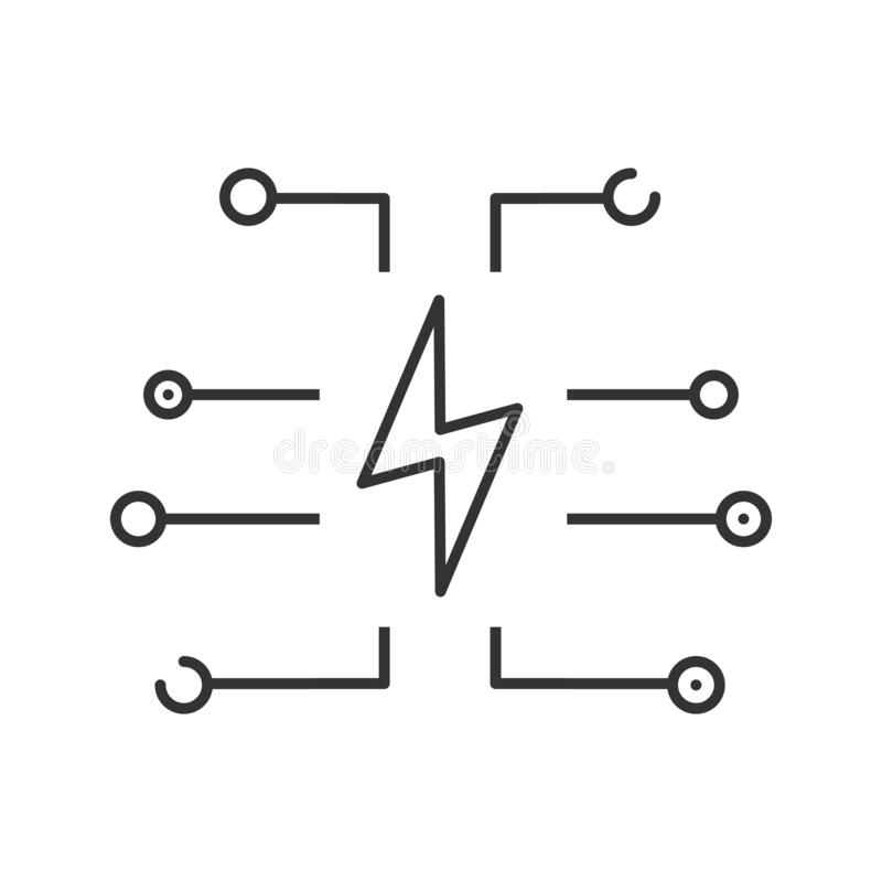 Illustration Line Art Of Power On Device Symbol Stock