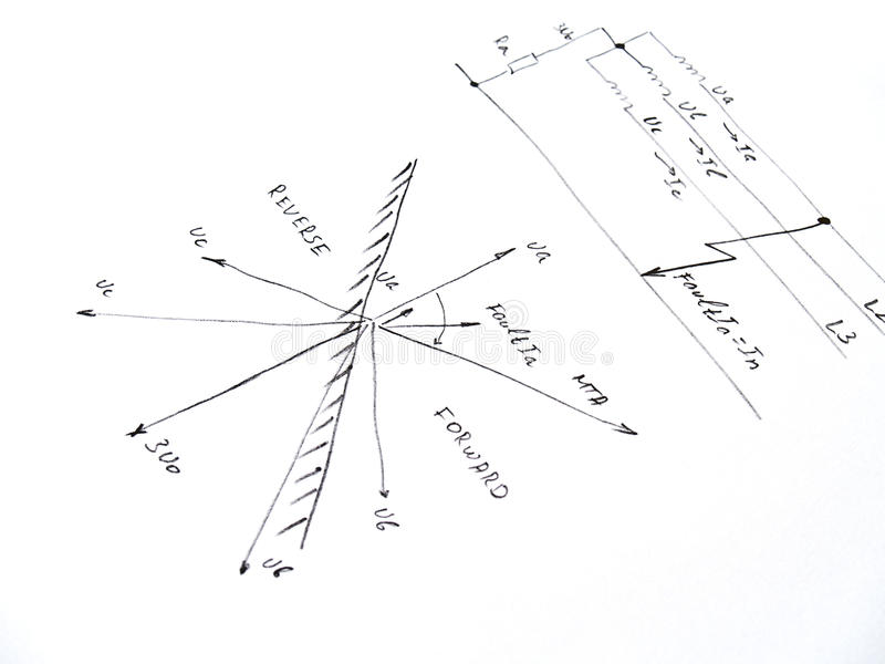 Diagram With Analysis Of Network Short Circuit Stock Image