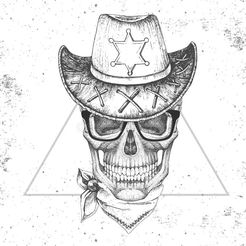 Cráneo Del Dibujo Con El Sombrero De Vaquero Ilustración