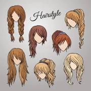 cartoon hairstyles stock