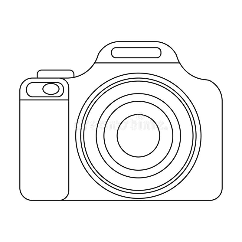 Digital Camera Icon In Outline Style Isolated On White
