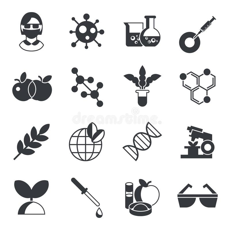 Biotechnology icons stock vector. Illustration of sign