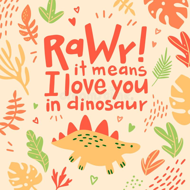 Download Dino Card Saying Rawr It Means I Love You Stock ...