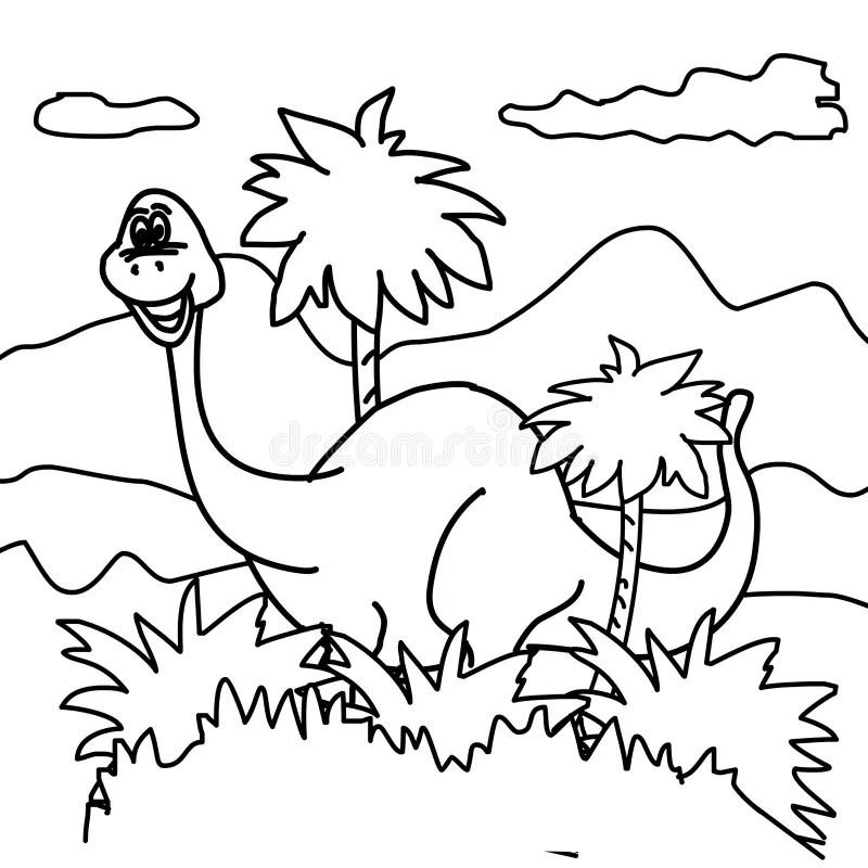Dinosaur coloring page stock illustration. Illustration of
