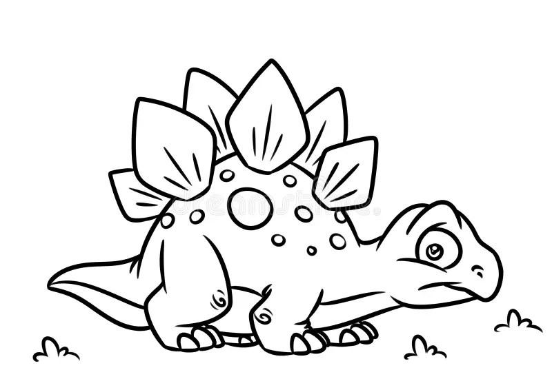 Stegosaurus Dinosaur Cartoon Coloring Pages Stock
