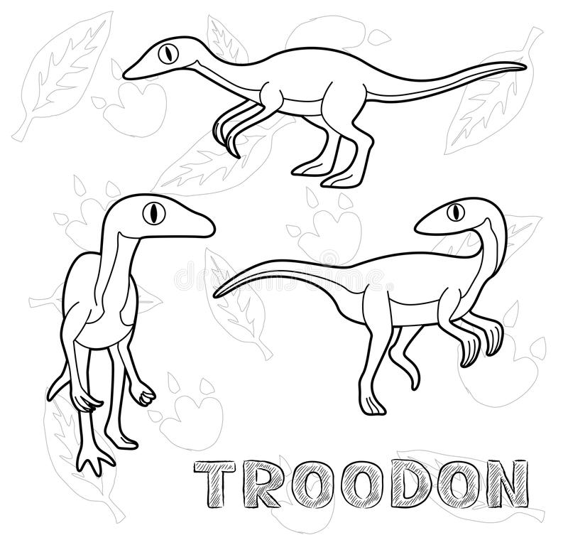 Dinosaur Troodon Cartoon Vector Illustration Monochrome