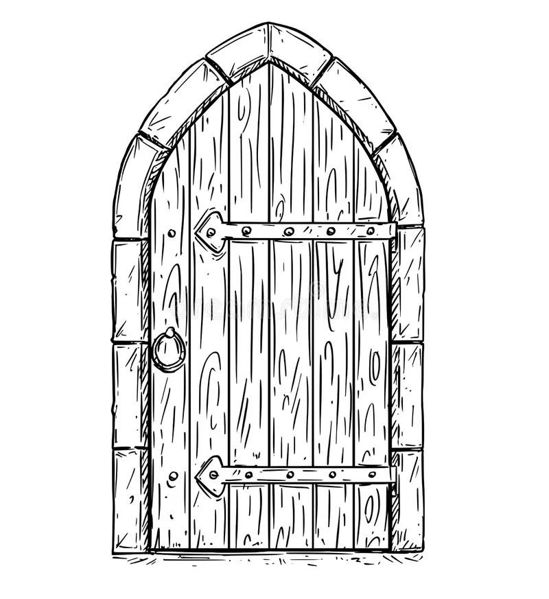 Disegno Di Vettore Del Fumetto Della Porta Medievale Di