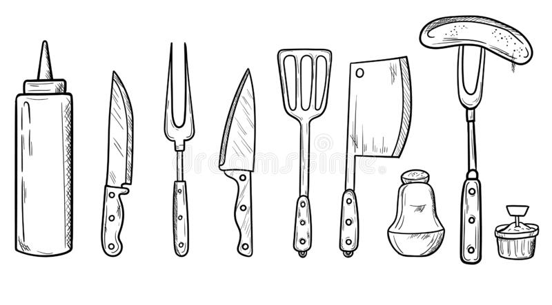 Set Of Barbecue Tools: BBQ Fork, Tongs, Grill With Meat