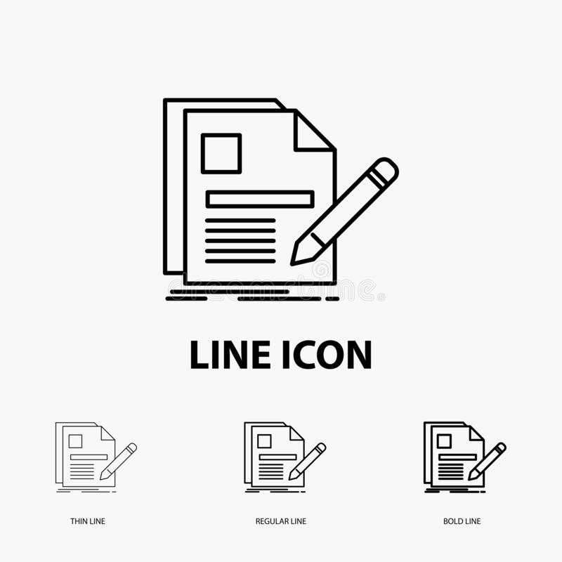 Notebook And Pen Vector Icon In Line Style Stock Vector