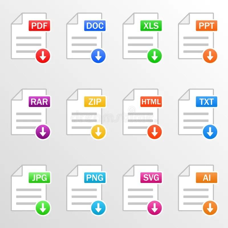 Document Files. Icon Set. Download File Formats - Pdf. Doc. Xls. Ppt. Rar. Zip. Html. Txt. Jpg. Png. Svg. Ai. Vector Stock Vector - Illustration ...
