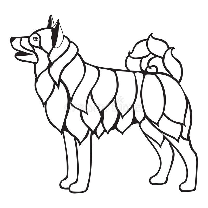 Dog Adult Antistress Or Children Coloring Page Vector Illustration