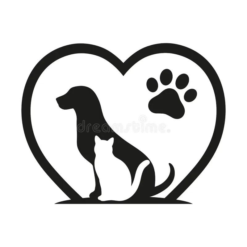 Cat paw print love heart stock illustration. Illustration